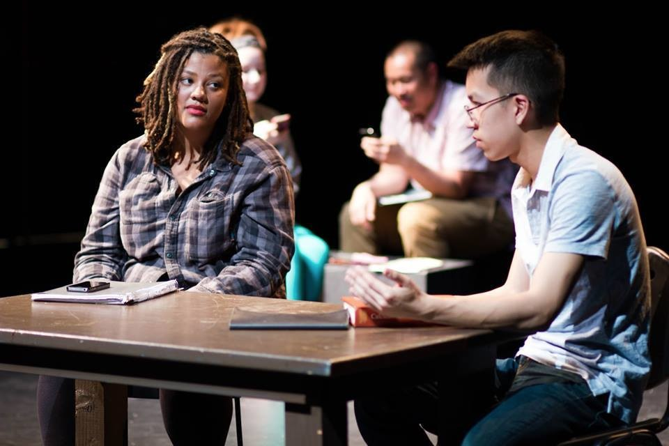 Here is a picture of me and my co-founder, Theresa Crumpton in a sketch that deconstructs the model minority myth and tackles anti-blackness within the Asian community. May 2015.