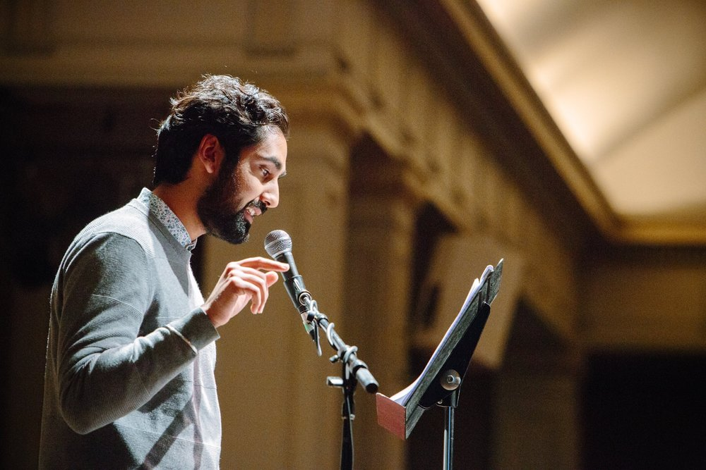 Karan Grewal reads an excerpt of    Your Heart is a Muscle the Size of a Fist        by Sunil YapaSherman Alexie Loves event, Seattle Arts & Lectures. Photo by Libby Lewis Photography