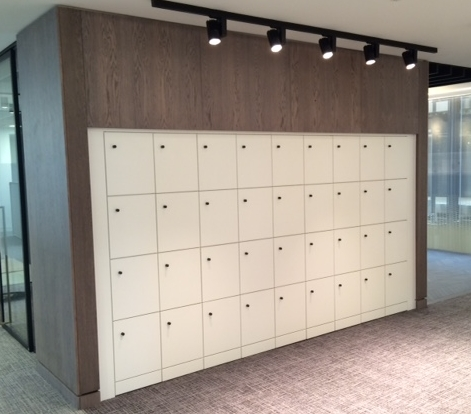 Lockers set into an alcove and flush fitted.