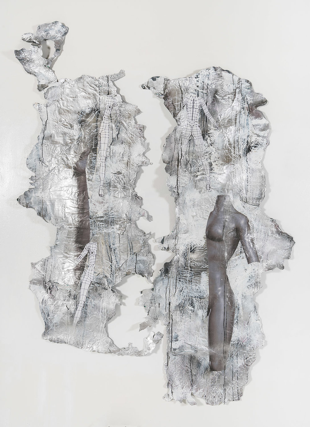 Silver Women , 2016, Mixed media on rubber, 5ft X 6.5ft