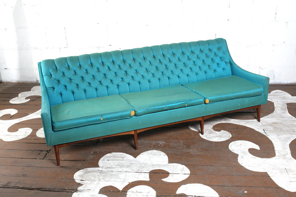 Mid Century Tufted Sofa
