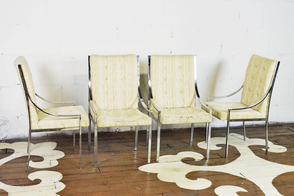 Set Of Chrome Dining Chairs