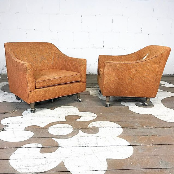 Mid Century Club Chairs On Casters