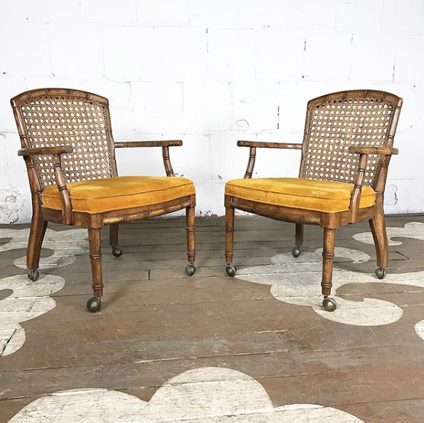 Beau Faux Bamboo Cane Chairs