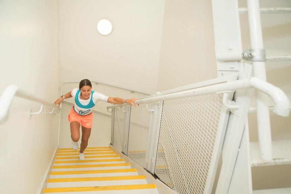 The stairs of pain. One floor of the 35 involved in Trekstock's Conquer the Tower