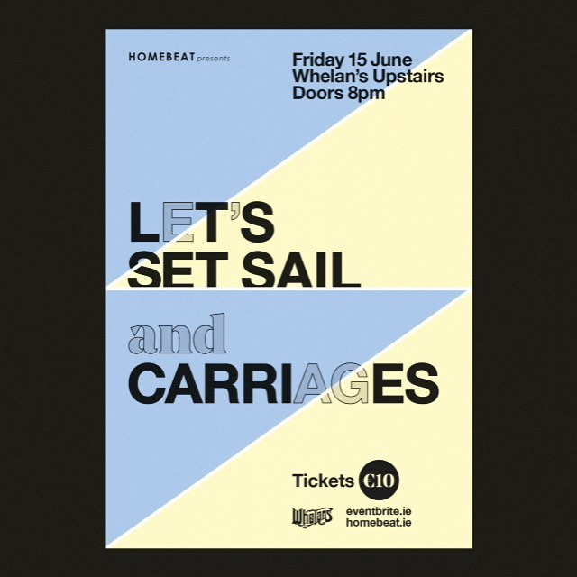 G I G. Friday week, 15 June. Us and @carriagesband upstairs @whelanslive Tickets only €7.50 - https://www.eventbrite.ie/e/homebeat-presents-lets-set-sail-carriages-tickets-45970832999 €10 on the door so grab them now.