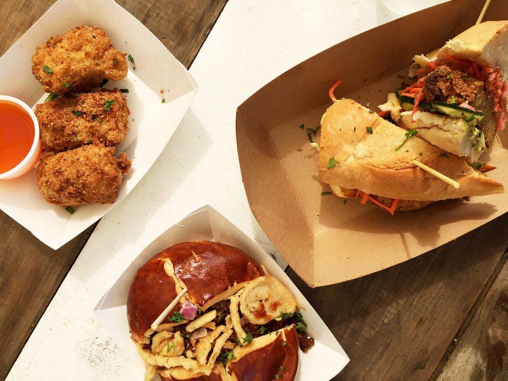 Mac & Cheese Bites,Kansas City Tips burger & Bahn Mi