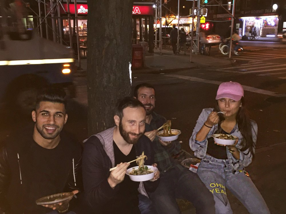 me and the guys, enjoying our noodles like a NY local. On a bench nearby lol
