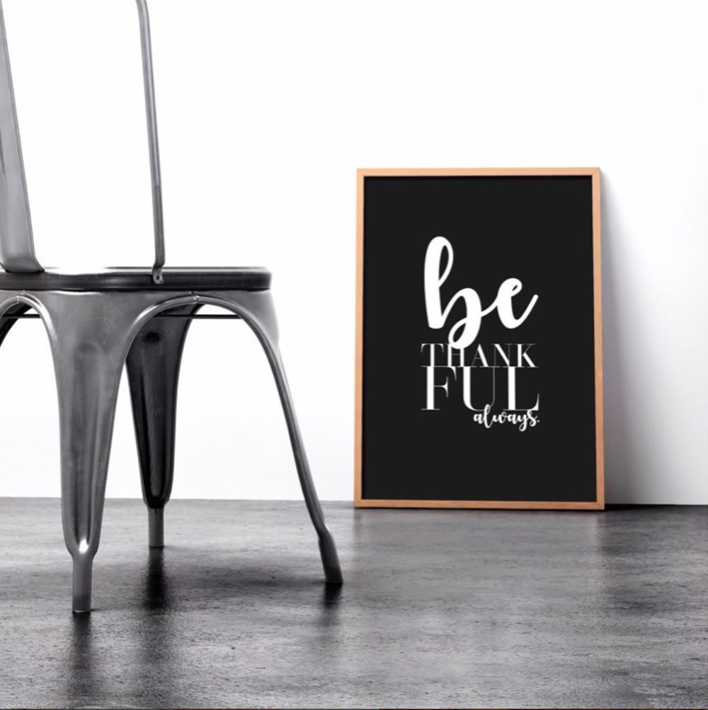 Be Thankful Frame, Chair, Minimalist