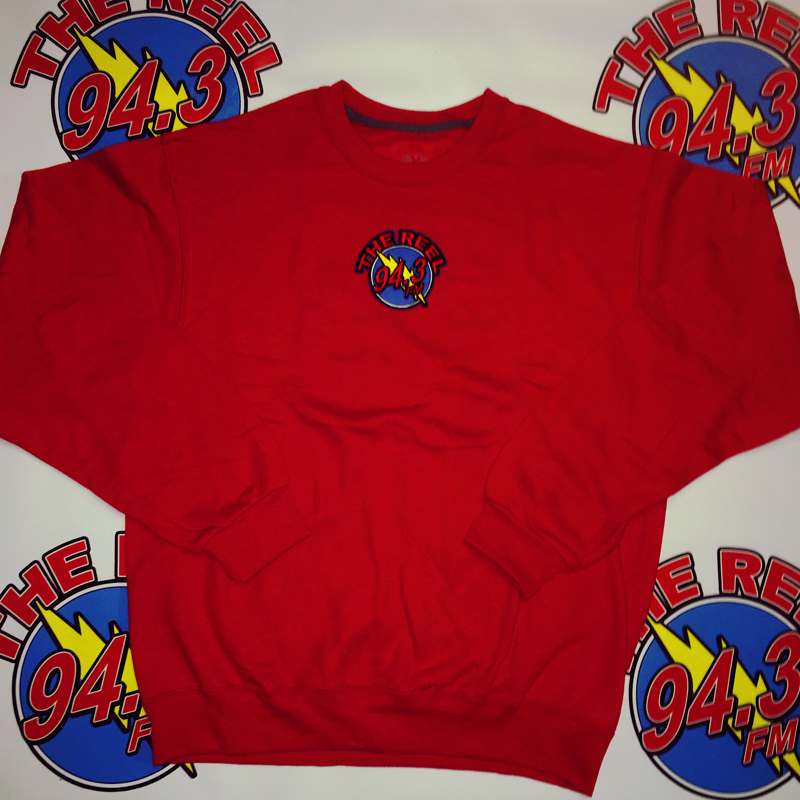 Red 94.3 Crew Neck - true red. hand stitched 94.3 logo. size medium.
