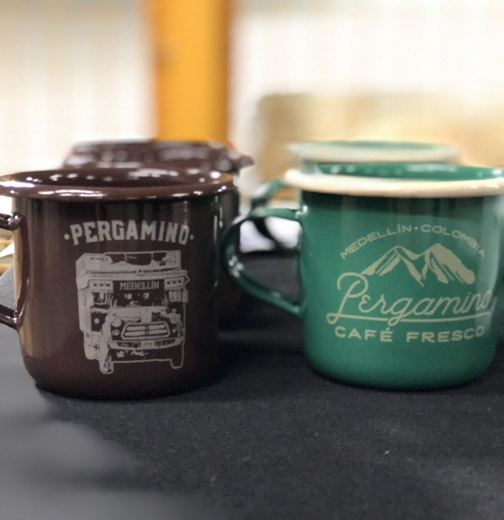 A few of the tin coffee mugs from Pergamino!