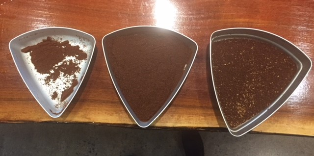 Boulders on the right, our ideal grind in the center, and the fines on the left.