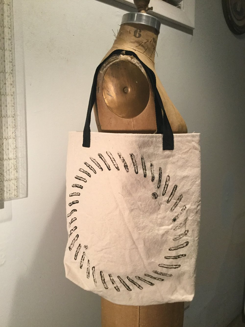 """Gear Tote, block printed on canvas, 15"""" x 17"""" - Made to Order: $20.00"""