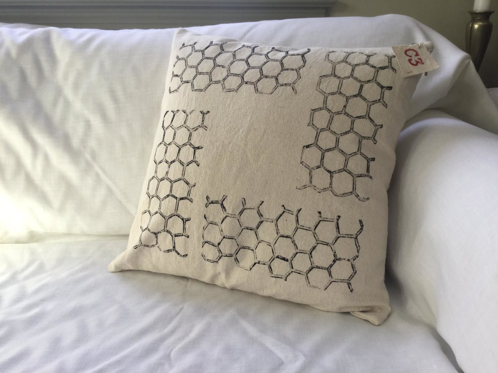 """Honeycomb, block printed, on canvas, pillow, 18"""" x 18"""" - Made to Order: $40.00"""