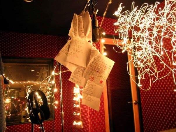 Cool lights and lyric sheets at Paramount Studios.
