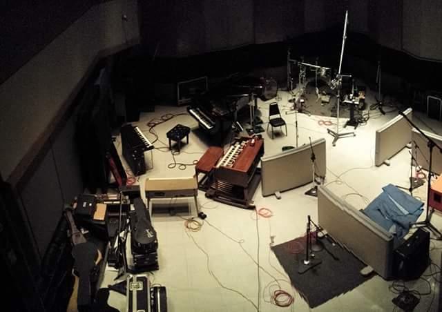 Piano, drums and guitar setup at Capitol Studios.