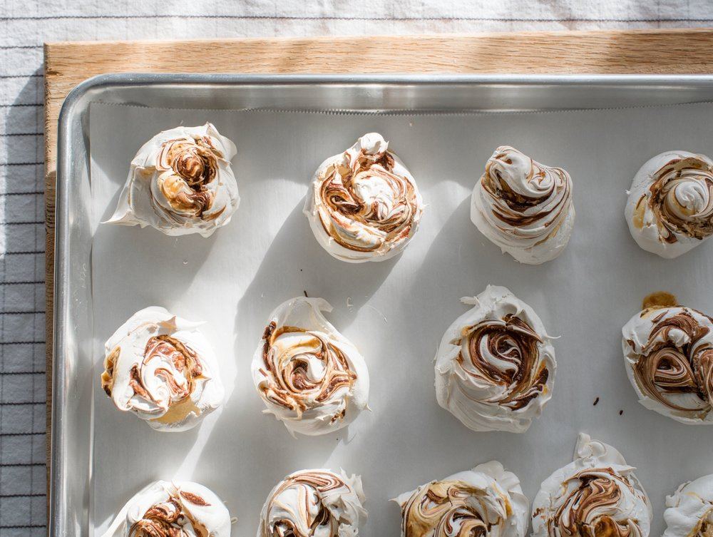 salted caramel chocolate meringues