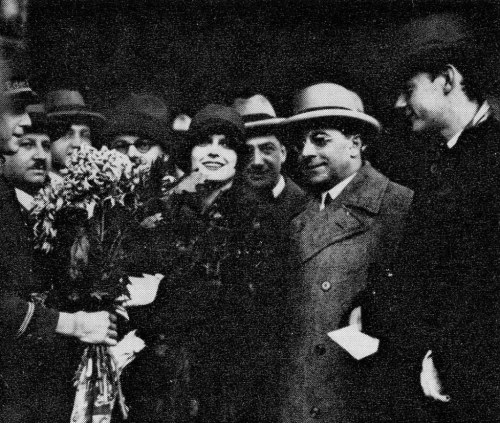 "Louise arriving in Berlin. To her left is director GW Pabst or, as she called him, ""Mr. Pabst."""