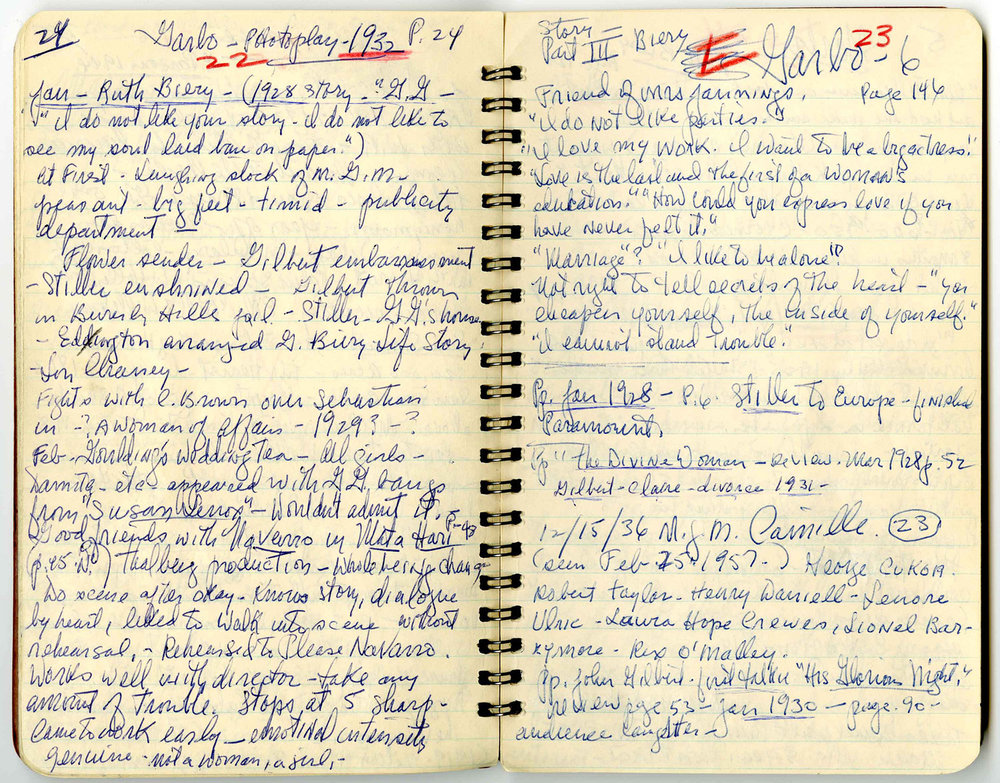 Image of Louise Brooks' notebooks, which can be found on the  Eastman Museum Website