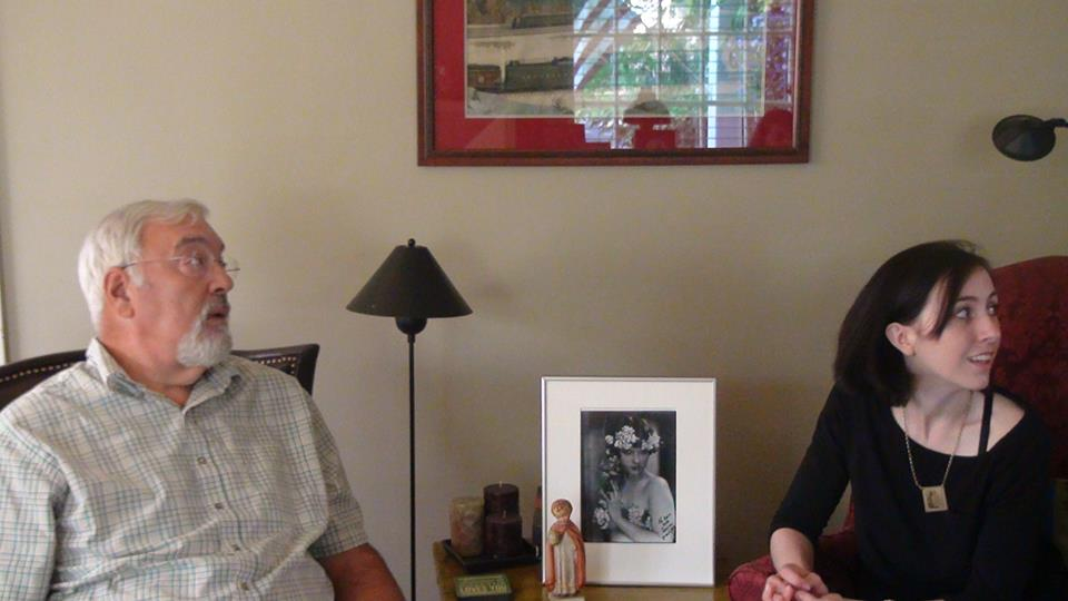 Jack Garner during our interview (the Infant of Prague with the broken head is on the table and so is his signed photo of Louise that he keeps reverently framed).
