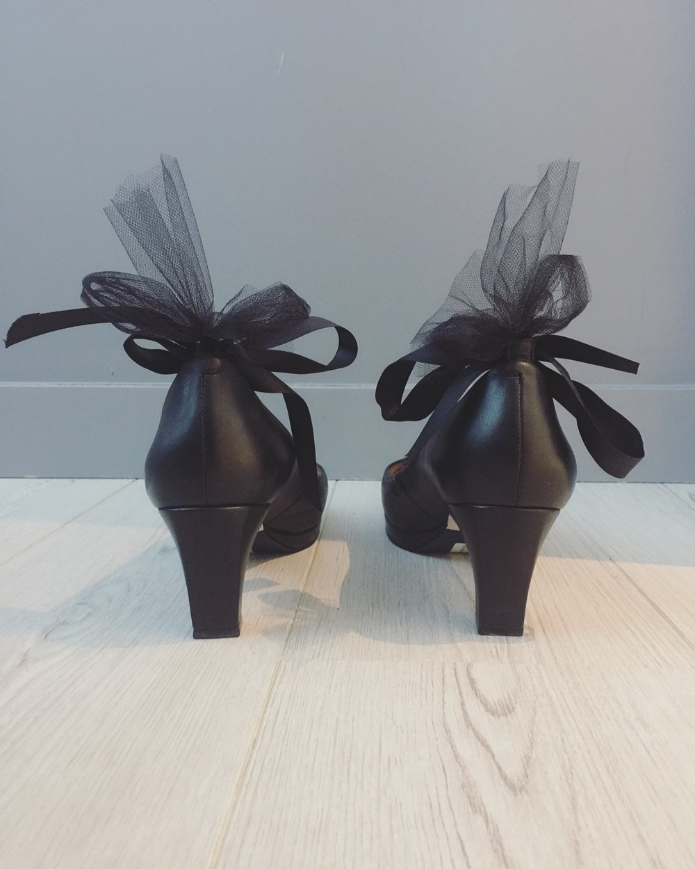 Pictured: the dr. Liza sneaker pump [now available for pre-order] with a tulle and satin ribbon bow.