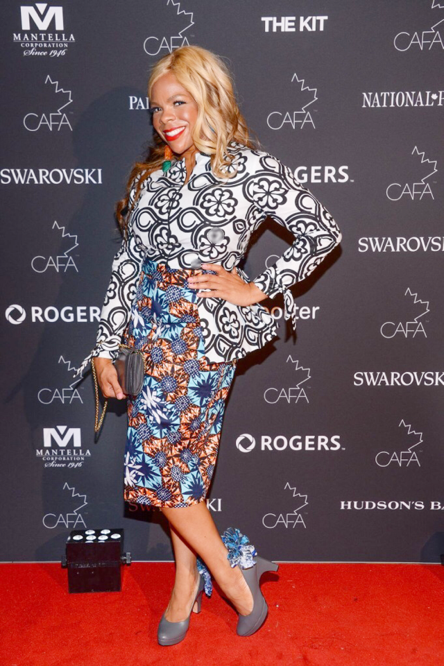 Dr. Liza on the CAFA red carpet in the cool grey dr. Liza pumps