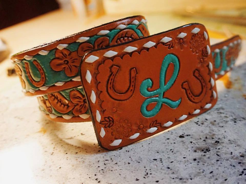 Custom Matching Initial and Lucky Horse Shoe Belt