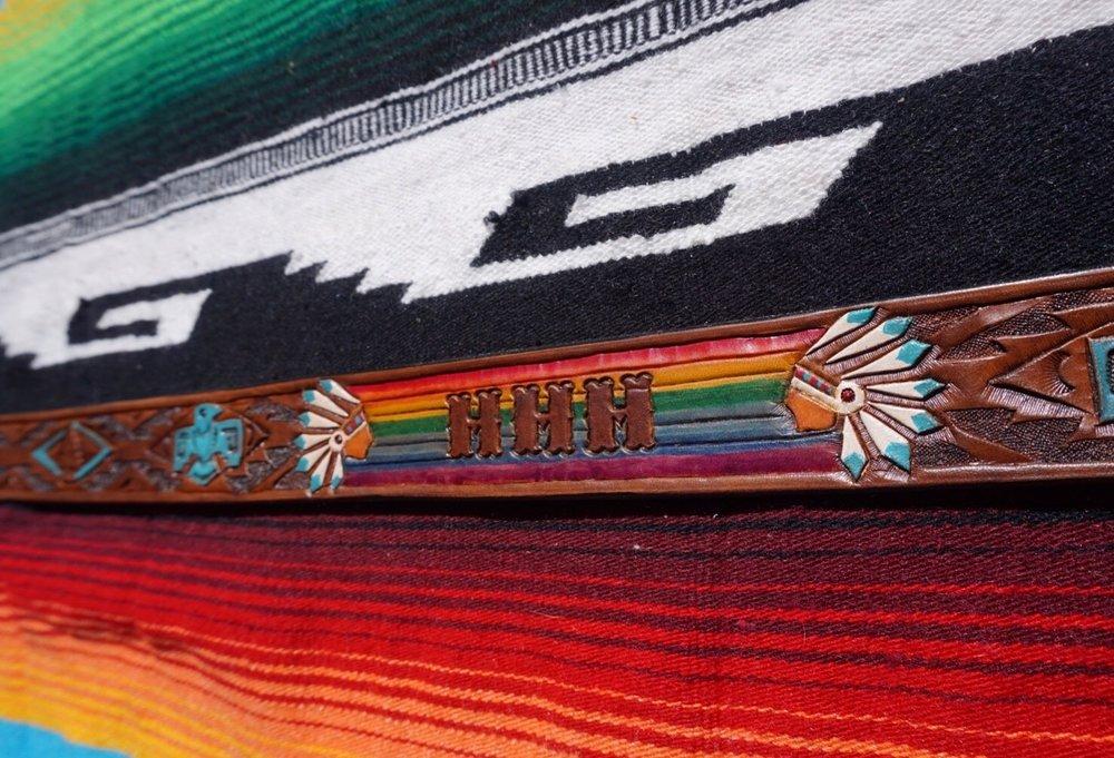 Custom Thunderbird Belt with Initials and Rainbow Chiefs