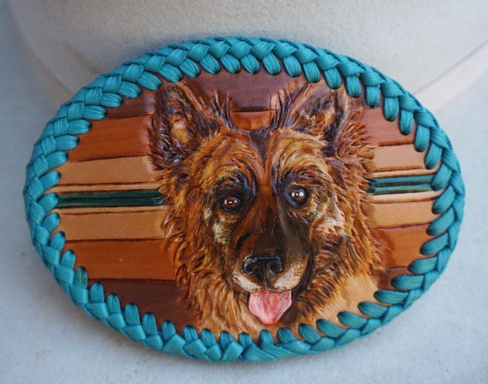 Custom German Shepherd Belt Buckle
