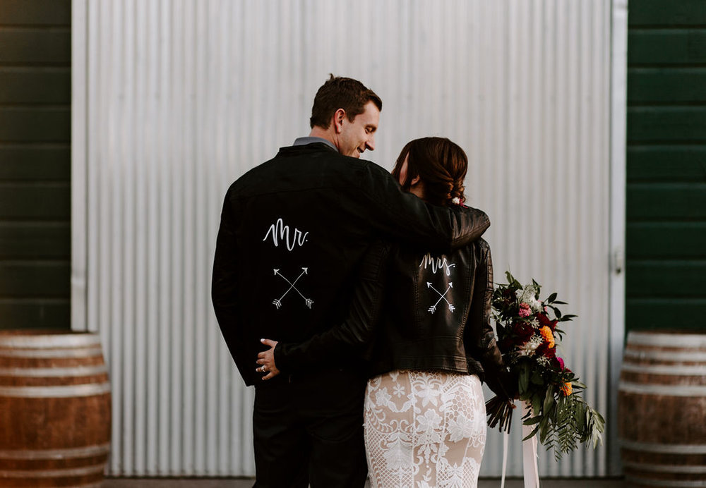 Bride with a Leather Jacket