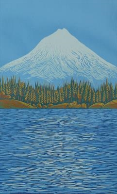 Mount Taranaki  -  £85.00            Click here to buy this print    A lino print - 21 cmx34 cm  Edition 2/10