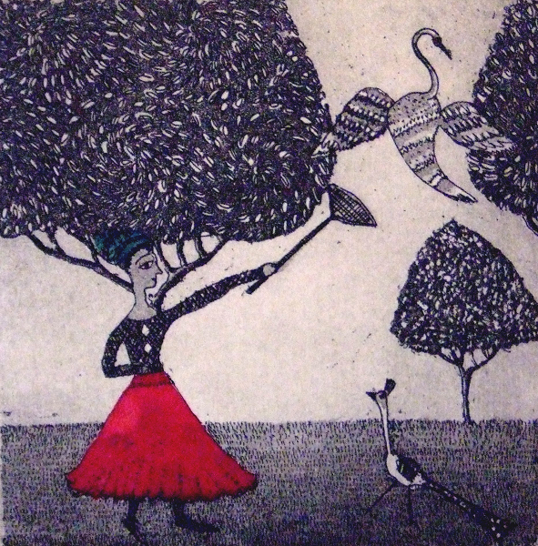 Let Us Catch Birds-  £40.00     Click here to buy this print    An etching - 15 cmx  15 cm  Edition 22/25