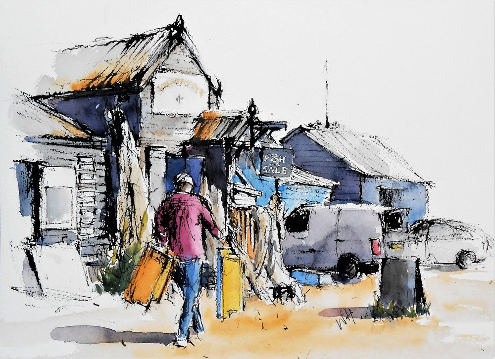 £225 Trading Places -  a watercolour by Wil Harvey