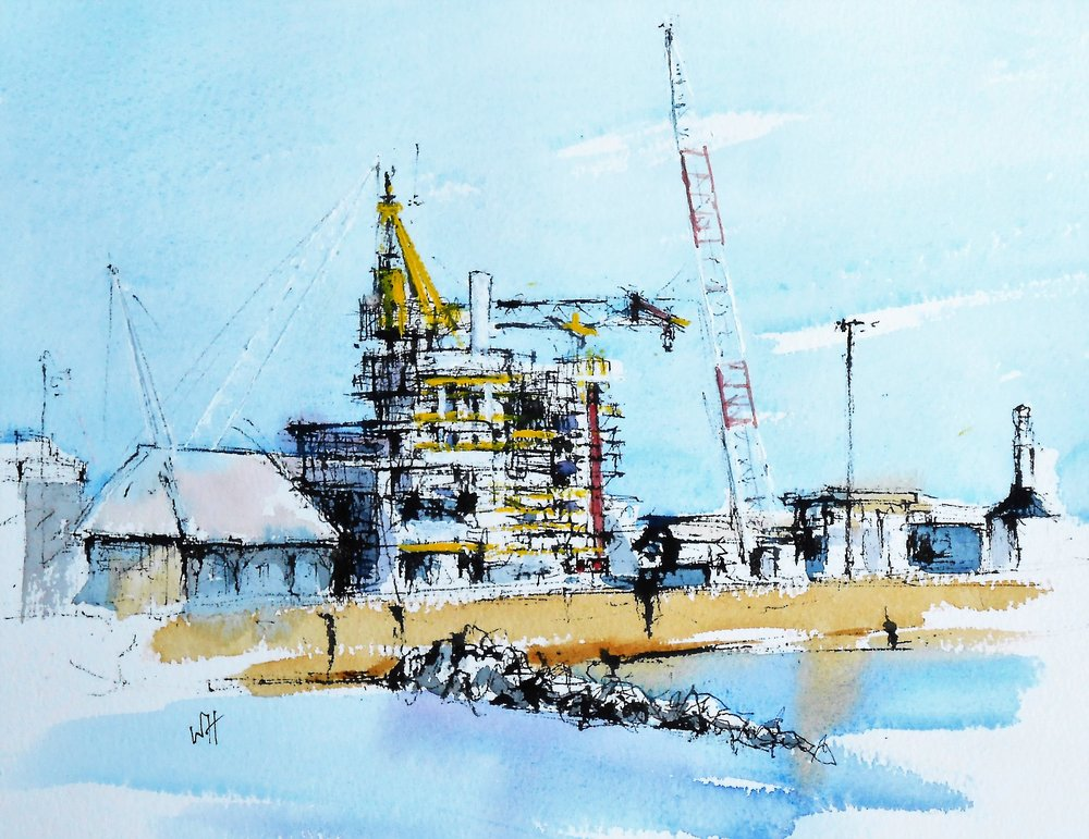 £225 Lowestoft Harbour  - a watercolour by Wil Harvey