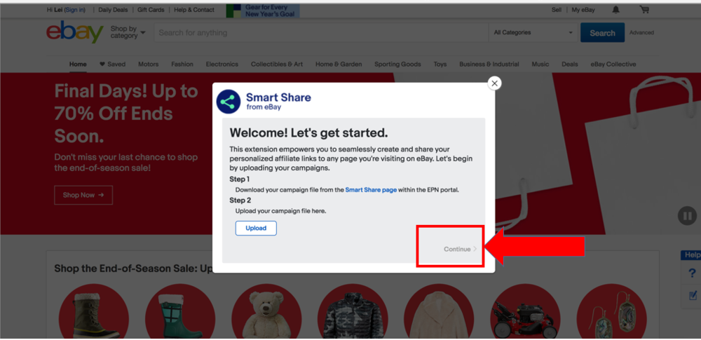 """Screenshot showing """"Continue>"""" option available after a successful campaign file upload."""