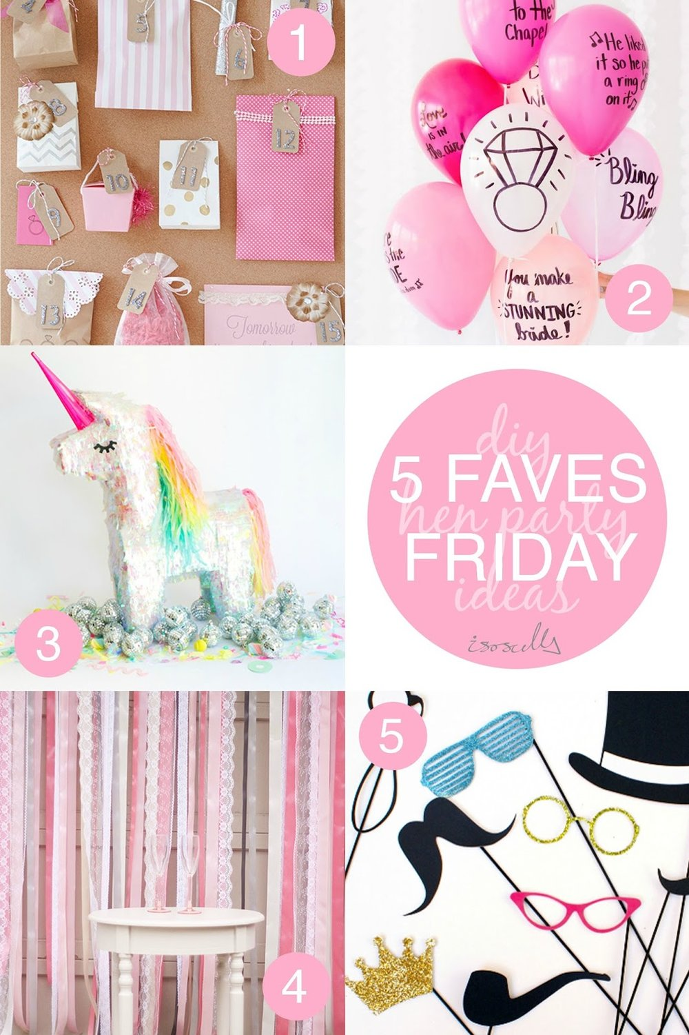 Five Faves Friday DIY Hen Party Ideas by Isoscella