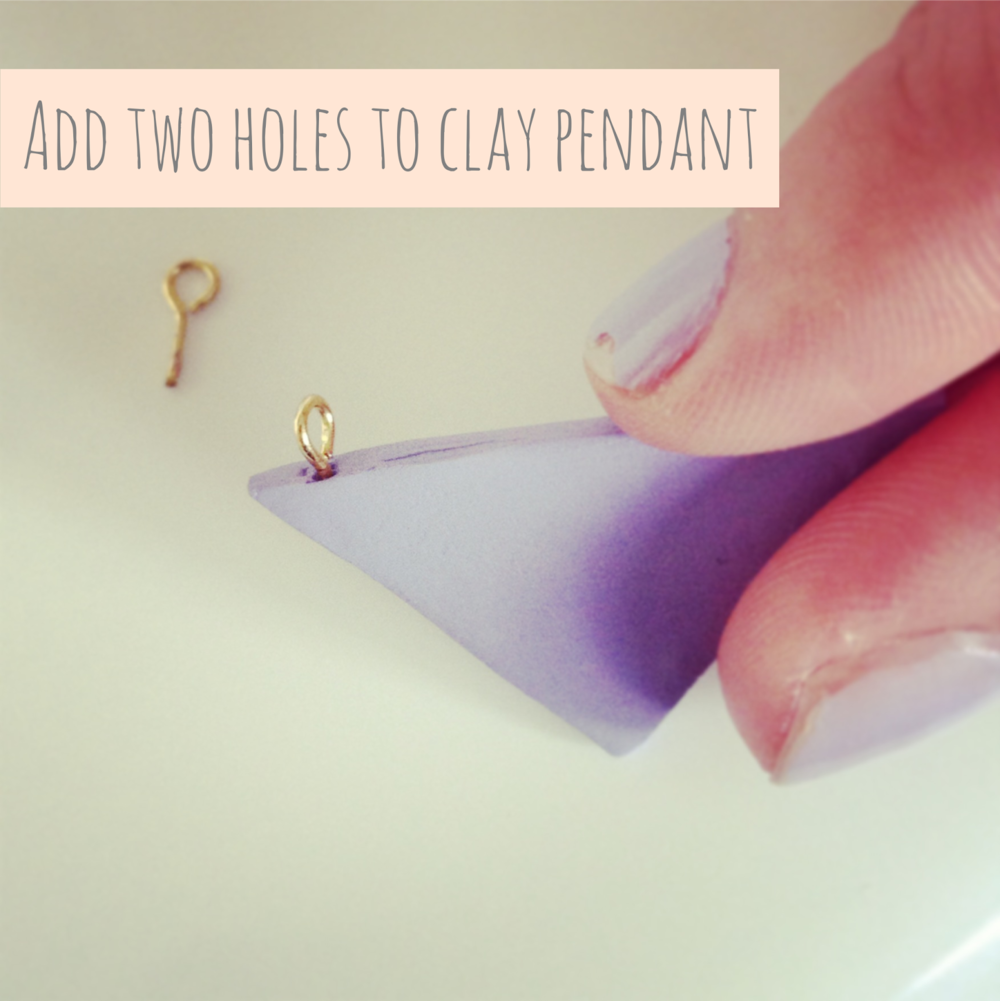 Adding holes to clay pendant