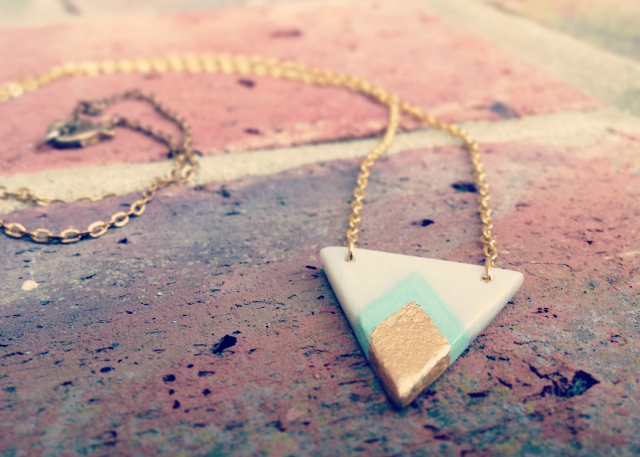 Handmade polymer clay gold mint chevron necklace header