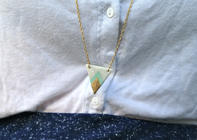 Handmade polymer clay gold mint chevron necklace