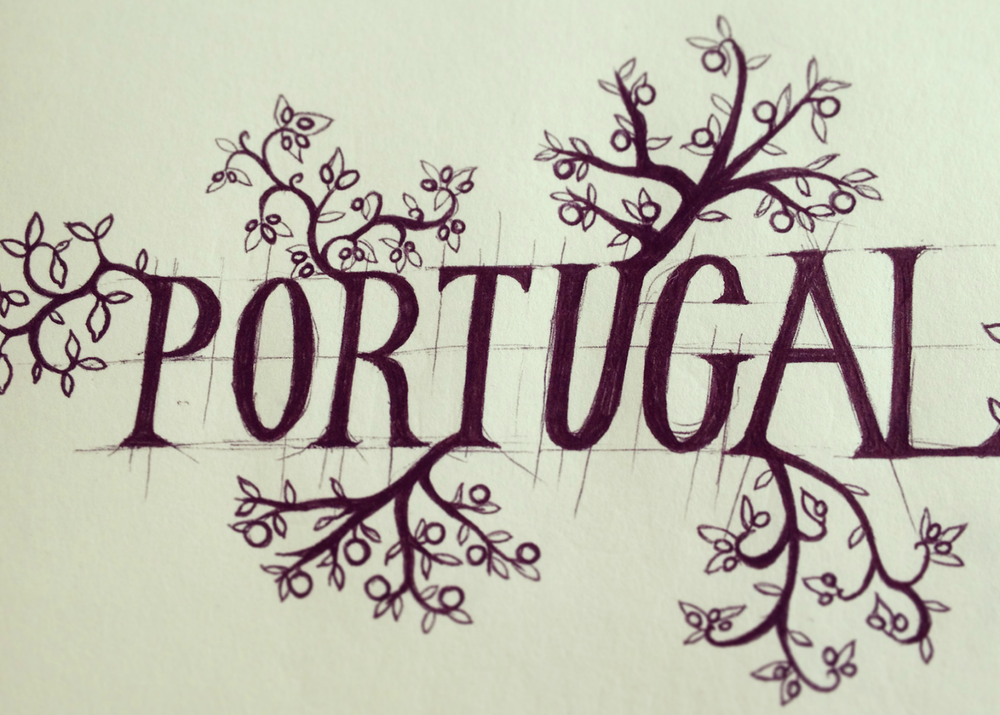 Portugal biro trees sketch leaves lettering