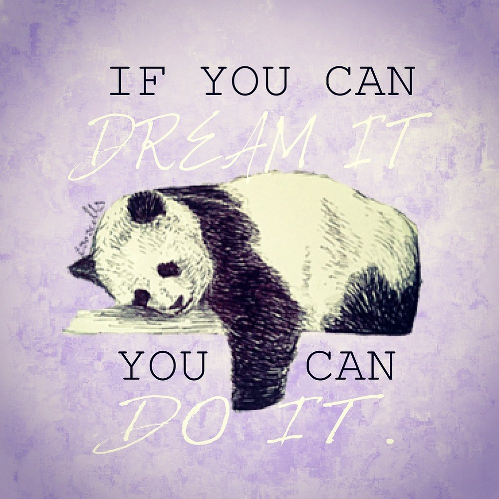 Motivational monday if you dream it you can do it panda illustration