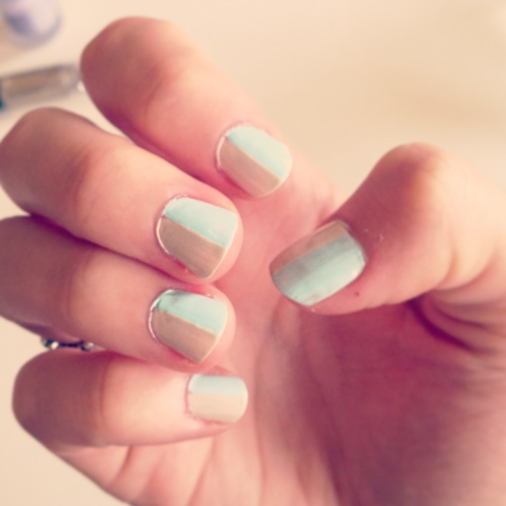 Mint and nude nail varnish