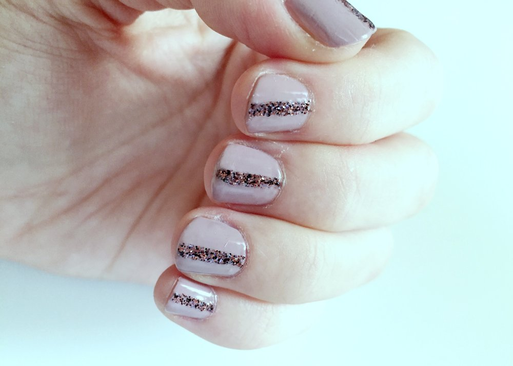DIY Glitter Striped Nails