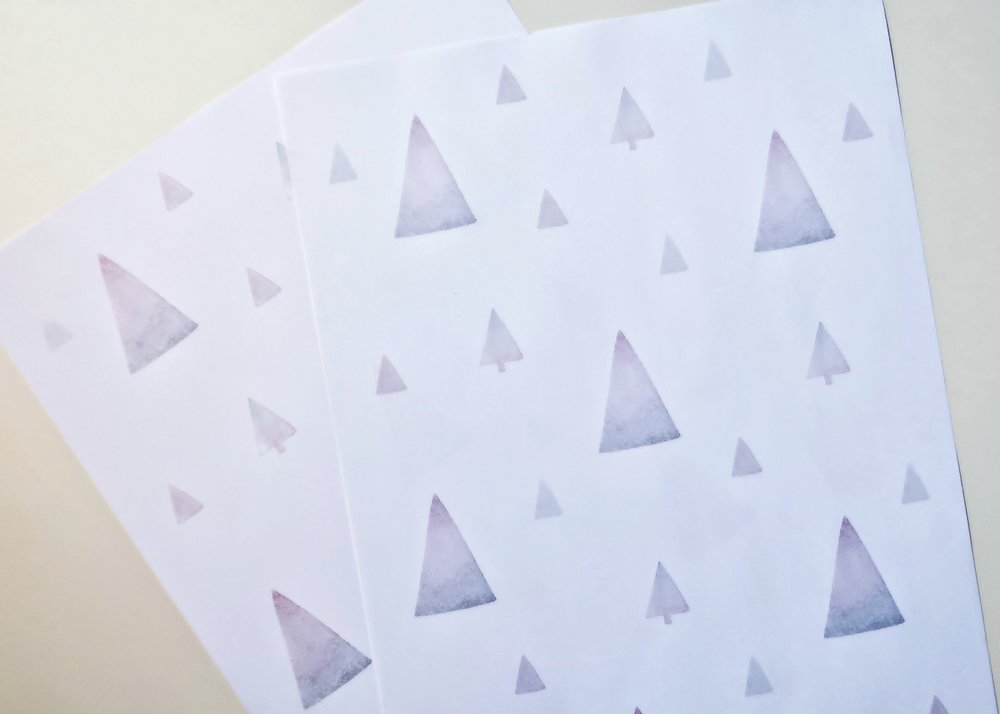 1. - First, download the PDF of the printable wrapping paper using the button below. Print it out on thin white paper.