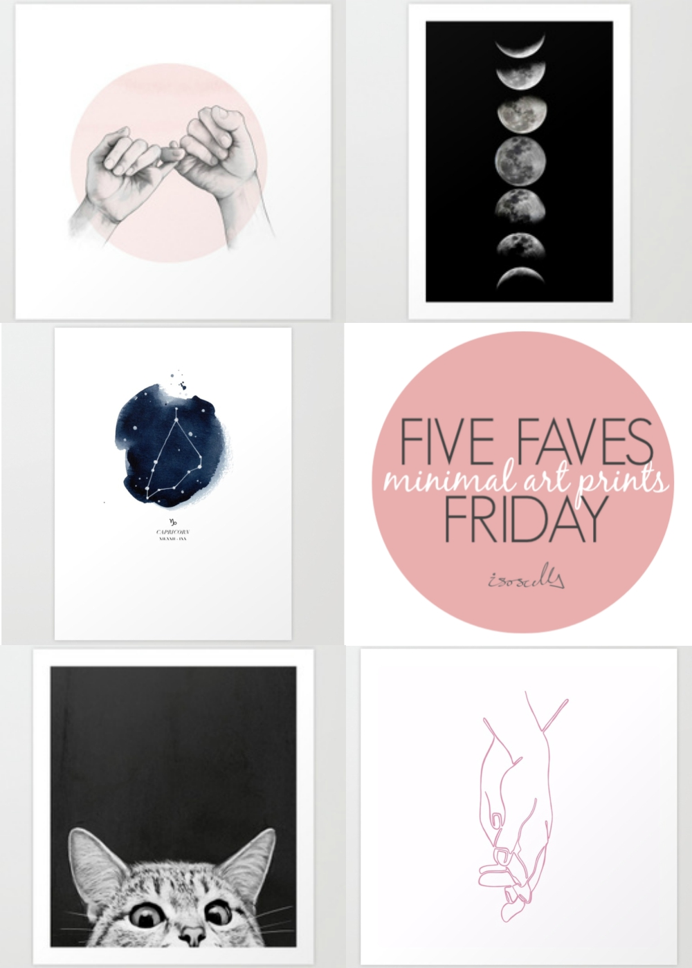 Five Faves Friday - Minimal Art Prints on Isoscella