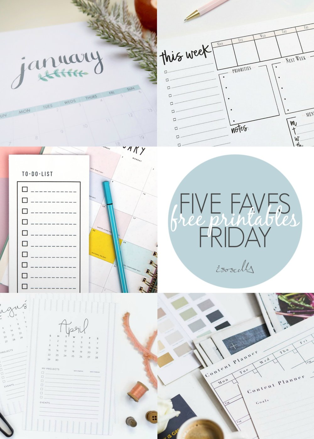 Five Faves Friday - Free Printables - Isocella