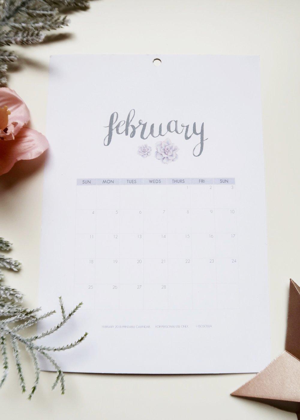 Printable February 2018 Calendar by Isoscella