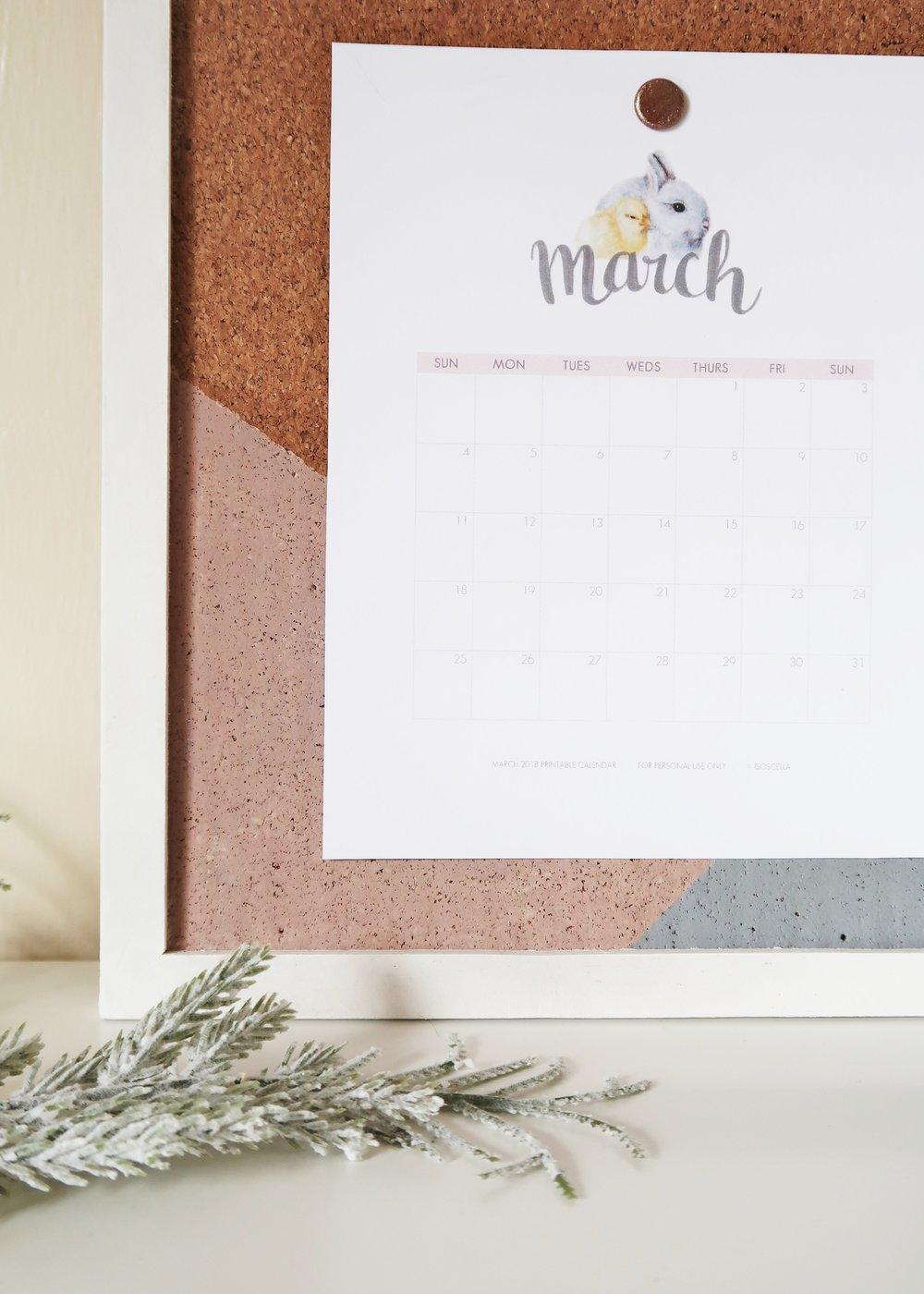 Printable March 2018 Calendar by Isoscella