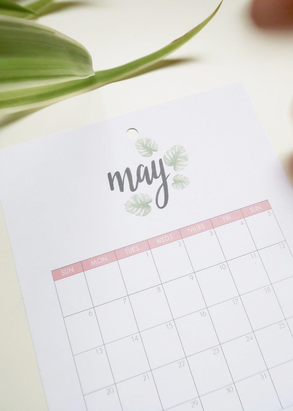 Printable May 2018 Calendar - Isoscella