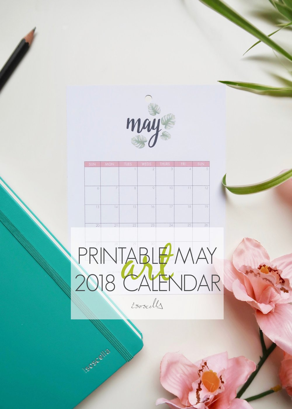 Printable May 2018 Calendar - Isoscella